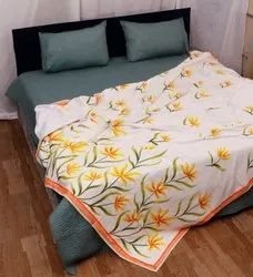Cotton White And Yellow Brush Printed Dohar Double Size 90x108