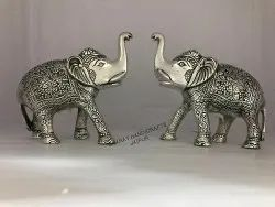 Metal Silver Plated Elephant