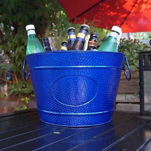 Galvanized Steel Blue Powder Coat Wine Cooler Champagne Bucket