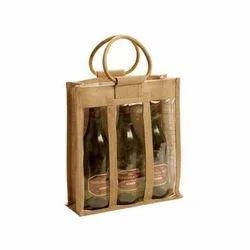 Jute Handle Bottle Bag