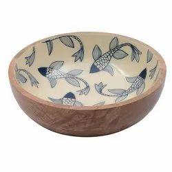 Enamel Print Fish Design Wooden Bowl