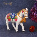 Paper Mache White Metal Craft Horse Showpiece Idol