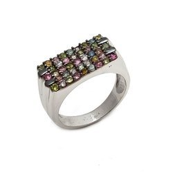 925 Sterling Silver High Polished Natural Multi Tourmaline Gemstone Mens Unisex Rings