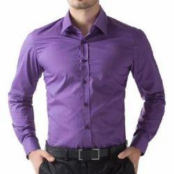Cotton Plain Mens Purple Formal Shirt