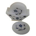 White Marble Inlay Coaster Set