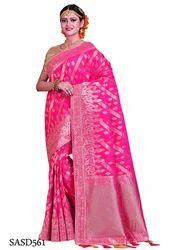 Soft Silk Pink Color Saree with Blouse Piece, Length: 5.5 m