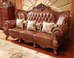 Teak Wood Leather Sofa