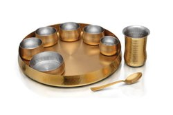 Indian Dinnerware Stainless Steel Copper Traditional Dinner Set Of Thali