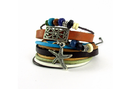 Starfish Multi Color Leather Metal Wrist Band For Men