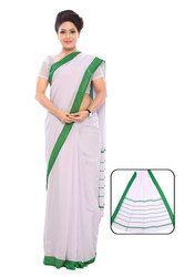 Light Pink and Green Uniform Plain Saree