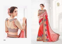 Beige & Red Good Looking Fancy Saree