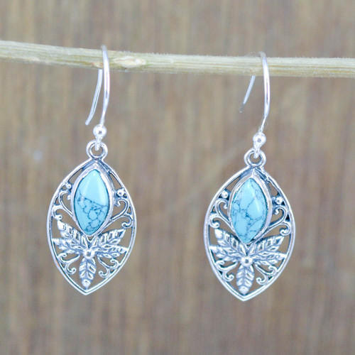 925 Sterling Silver New Designer Jewelry Turquoise Gemstone Earring We 5364