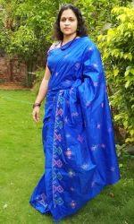Kasuti Wedding Wear Blue Pure Silk Saree, With Out Blouse Piece