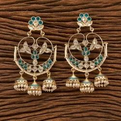 Engagement Wear Indo Western Gold Plated Jhumki Earring 8775