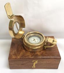 Brass Army Style Prismatic Compass With Wooden Box
