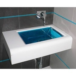 White, Blue Jaquar Glass Wash Basin