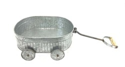 Weathered Look Wagon Planter With Wheels