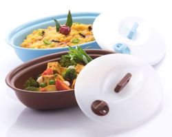 Blue-brown Plastic Varmora Oval Server, For Serving Food