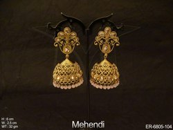 Flower Jhumki Antique Earring