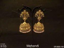 Flower Jhumki Antique Earring