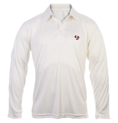 White 100% Polyester Knitted Fabric With Moisture Management Properties Sg Cricket Full Sleeves T-shirt