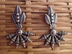 Zip Pouch Silver Look Alike Brass Earrings