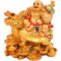 Feng Shui Laughing Buddha with Dragon for Wealth