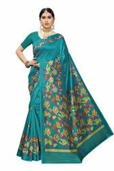 Fancy Silk Saree With Floral Print Concept