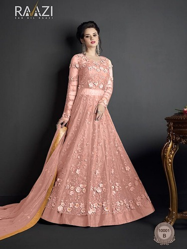 Pink Heavy Embroidery Work Anarkali Gown एम ब र यडर ड