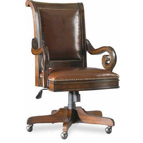 Brown Wooden Leather Office Chair Rs