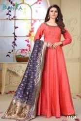 Designer Heavy Silk Gown and Banarasi Silk Dupatta By Parvati Fabric