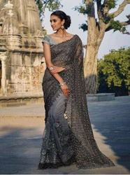 Gray Party wear Grey Net Saree With Pure Silk Blouse, With Blouse Piece