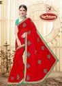 Dyed Chiffon Embroidery & Diamond work Saree with Lace - Jugnoo 02