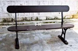 Metal Bench in Vintage Style with Back for Spruce up Your Foyer or Backyard
