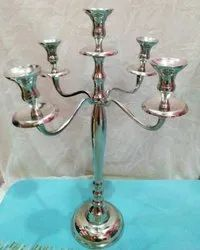 5 Arm Silver T Light Candelabra