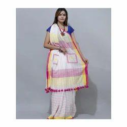 bb70d671f3c Khadi Handloom Designer Body Pom Pom Saree, Length: 5.5 M, Rs 2600 ...