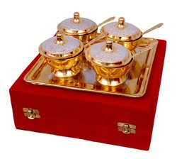Gold Silver Decorative Brass Serving Bowl Set