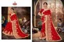 Georgette Embroidery & Diamond work Saree with Lace  - Red Rose