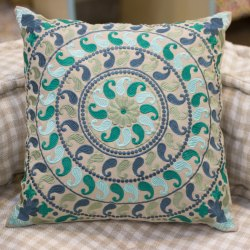 Paisley Design Embroidery Sofa Cushion Cover Light Green Cushion Cover
