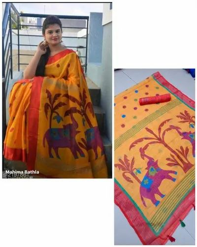 Wedding Wear Beautiful Linen Saree, 6.3 M (with Blouse Piece)