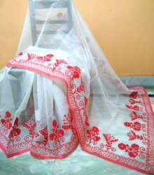 Party Wear Traditional Ari Work On Super Net Saree