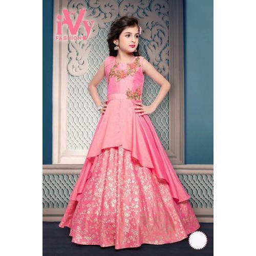 65e96f0aaf8f Dark Pink Party Wear Kids Designer Gown
