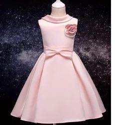Cute Pink Applique Cotton Dress