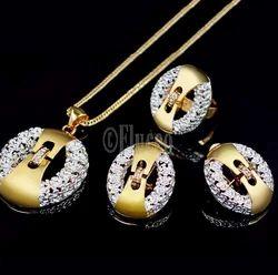 Eluceo Fashion Trendy Big Pendant Cubic Zircon Small Stones Engraved Jewelry Set