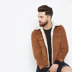 Men Collar Neck Tan Corduroy Faux Fur Jacket