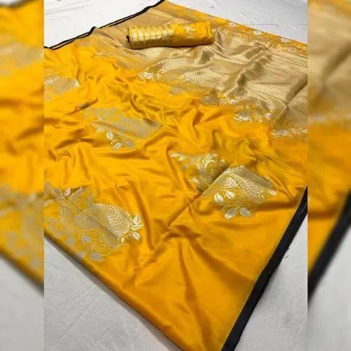 Manvi Boutique Border Designed Ladies Banarasi Saree, 5.5 M (separate Blouse Piece), Packaging Type: Packet