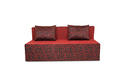 Adorn India Easy Three Seater Sofa Cum Bed Poly Cotton (Maroon & Black) 5'X6' (5 x 6)