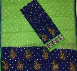 Green Unstitched Ladies Embroidered Suits