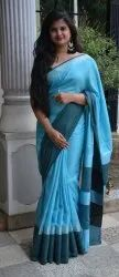 Handloom Linen Saree With Blouse Piece