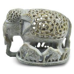 Soapstone Elephant With Baby Statue